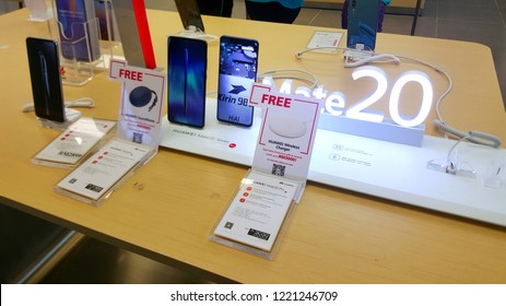 Kuala Lumpur, Malaysia - November 4, 2018: A Huawei mate 20 smartphone at an Huawei store. Huawei is a brand of the worlds largest telecommunications equipment manufacturer Huawei (China).