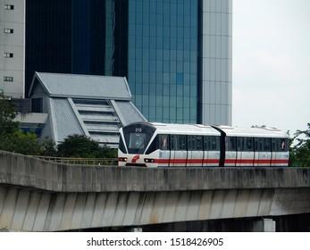 Kuala Lumpur, Malaysia - November 4, 2016: The automated and driverless light rail train in Kelana Jaya Line