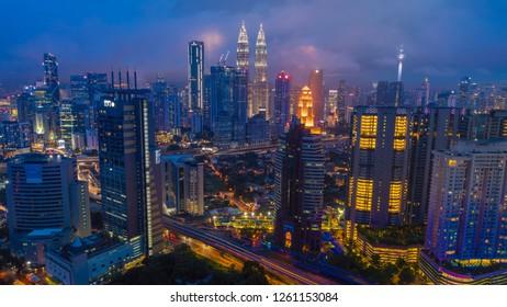 KUALA LUMPUR, MALAYSIA - NOVEMBER 7, 2018: Cityscape of beautiful sunset at Kuala Lumpur, Malaysia