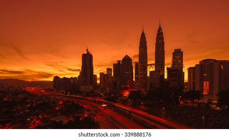 KUALA LUMPUR, MALAYSIA - NOVEMBER16, 2015: Blue hour scenic  view of the Petronas Twin Towers(KLCC)in Malaysia.The most visited building landmark for tourist  in Malaysia.