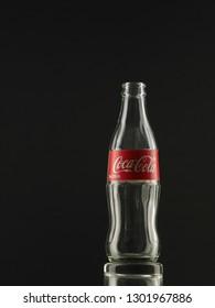 Kuala Lumpur Malaysia, oct 12 2018,Classic bottle Of Coca-Cola isolated on white studio shot