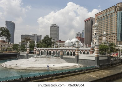 Kuala Lumpur, Malaysia - Oct 16, 2017 : Sultan Abdul Samad Jamek Mosque or Masjid Jamek. One of the oldest mosque with it's moorish and mughal architecture. It has been upgraded in 2017.