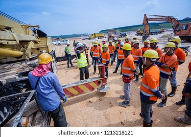 Kuala Lumpur, Malaysia - Oct 25, 2018 : Safety Officer gives briefing during the Environmental, Safety and Health Training program for construction workers in Kuala Lumpur Malaysia.