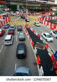 Kuala Lumpur, Malaysia - October 05, 2018 : Construction along Jalan Tun Perak, Jalan Pudu and Jalan Tun H.S. Lee.