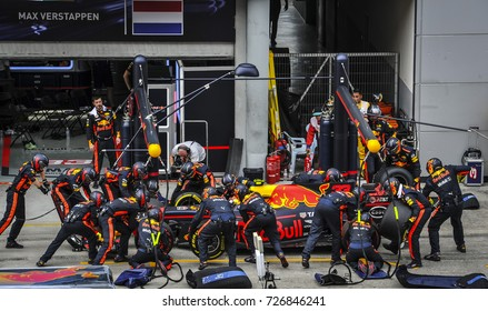 KUALA LUMPUR, MALAYSIA - OCTOBER 1, 2017 : Max Verstappen of the Netherlands driving the Red Bull Racing Red Bull on the pit lane during Malaysia Formula One Grand Prix at Sepang Circuit
