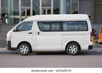 KUALA LUMPUR, MALAYSIA - October 10, 2017: Toyota Hiace mini truck parked in front of the building.