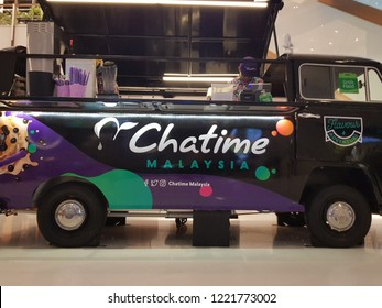 Kuala Lumpur, Malaysia. October 11, 2018. Food truck mockup from Chatime, a Taiwanese global franchise teahouse chain based in Taiwan, inside a mall in Robinson at Four Seasons Place near KLCC