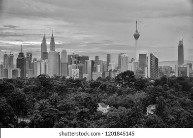 Kuala Lumpur, Malaysia - October 12 2018 : A local photograpy has take a black and white picture in Kuala Lumpur city at Malaysia country.