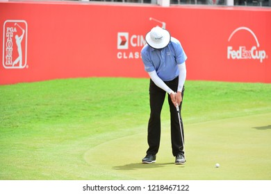 KUALA LUMPUR, MALAYSIA - October 13: Joel Dahmen of USA, make a putt at 18th hole, during round three of CIMB CLASSIC 2018 at TPC Kuala Lumpur, KUALA LUMPUR, MALAYSIA on October 13, 2018.