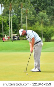 KUALA LUMPUR, MALAYSIA - October 13: Marc Leishman of Australia, make a putt at 18th green, during round three of CIMB CLASSIC 2018 at TPC Kuala Lumpur, KUALA LUMPUR, MALAYSIA on October 13, 2018.