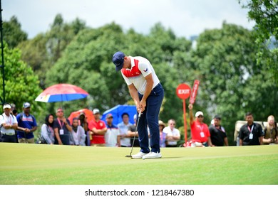KUALA LUMPUR, MALAYSIA - October 13: Gary Woodland of USA, make a putt at 8th green, during round three of CIMB CLASSIC 2018 at TPC Kuala Lumpur, KUALA LUMPUR, MALAYSIA on October 13, 2018.