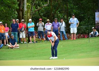 KUALA LUMPUR, MALAYSIA - October 13: Gary Woodland of United States make a putt at 5th green, during round three of CIMB CLASSIC 2018 at TPC Kuala Lumpur, KUALA LUMPUR, MALAYSIA on October 13, 2018.
