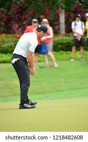 KUALA LUMPUR, MALAYSIA - October 13: Paul Casey of Englandshot his putt at 5th green, during round three of CIMB CLASSIC 2018 at TPC Kuala Lumpur, KUALA LUMPUR, MALAYSIA on October 13, 2018.
