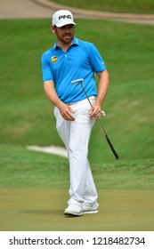KUALA LUMPUR, MALAYSIA - October 13: Louis Oosthuizen of South Africa react after make putt, during round three of CIMB CLASSIC 2018 at TPC Kuala Lumpur, KUALA LUMPUR, MALAYSIA on October 13, 2018.