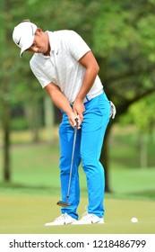 KUALA LUMPUR, MALAYSIA - October 13: C.T. Pan of Chinese Taipei shot his putt at the 7th holes during round three of CIMB CLASSIC 2018 at TPC Kuala Lumpur, KUALA LUMPUR, MALAYSIA on October 13, 2018.