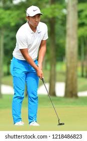 KUALA LUMPUR, MALAYSIA - October 13: C.T. Pan of Chinese Taipei ready to putt at holes 7th during round three of CIMB CLASSIC 2018 at TPC Kuala Lumpur, KUALA LUMPUR, MALAYSIA on October 13, 2018.