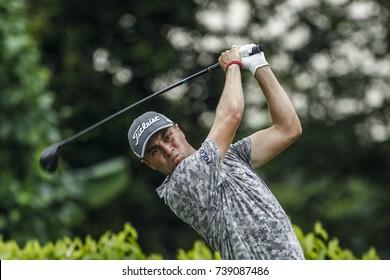 KUALA LUMPUR, MALAYSIA - OCTOBER 13, 2017. Justin Thomas of United States in action during the 2017 CIMB Classic golf tournament at TPC Kuala Lumpur, Bukit Kiara.