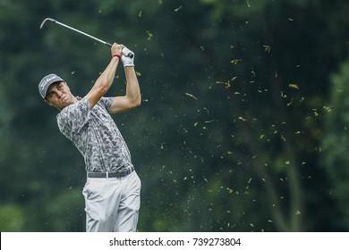 KUALA LUMPUR, MALAYSIA - OCTOBER 13, 2017. Golfer, Justin Thomas from United States in action during the 2017 CIMB Classic golf tournament at TPC Kuala Lumpur in Bukit Kiara.