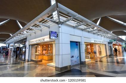 KUALA LUMPUR, MALAYSIA- OCTOBER 15, 2018 : Royal Selangor shop located in Kuala Lumpur International Airport. Royal Selangor is a Malaysian pewter manufacturer and retailer.
