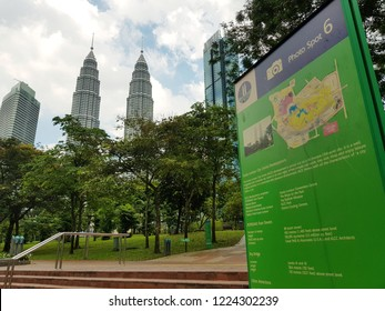 Kuala Lumpur, Malaysia. October 15, 2018. Phot spot signage with park info in KLCC Park, is one of the iconic park in the city design to provide greenery to Petronas Twin Towers and its surrounding