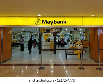 Kuala Lumpur, Malaysia. October 15, 2018. Customers entering Maybank branch at Suria KLCC, Malaysia's largest financial services group and the leading banking group in South East Asia.