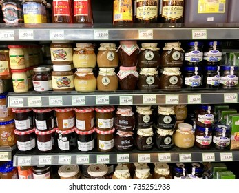 Kuala Lumpur, Malaysia. October 15, 2017. Various type of spreads which includes jam, peanut butter and honey on display shelf at supermarket in Great Eastern Mall, Jalan Ampang, Kuala Lumpur