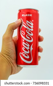 KUALA LUMPUR, MALAYSIA - OCTOBER 15, 2017 : Aluminium can of Coca cola Klasik/Classic soft drink on white background.The Coca-Cola Company, an American multinational beverage corporation.