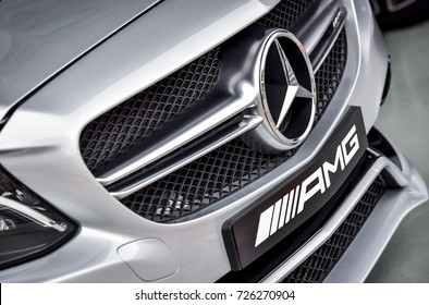 KUALA LUMPUR, MALAYSIA - OCTOBER 2, 2017 : Close up of Mercedes-Benz AMG car logo and rear bumper. Mercedes-Benz is a global automobile manufacturer and a division of the German company Daimler AG.