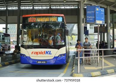 KUALA LUMPUR, MALAYSIA – OCTOBER 20, 2017:  View on Central Market (Kuala Lumpur) bus station with transportation activities.