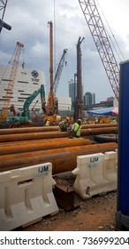 Kuala Lumpur, Malaysia - October 2017: Piling works is being done on the Pudu Jail area to construct a mall by IJM Berhad.