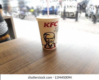 Kuala Lumpur , Malaysia - October 2018 : Close up of Pepsi drinks in the Pepsi KFC's Cup on the white isolated table. Pepsi is a carbonated soft drink that is produced and manufactured by PepsiCo.