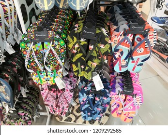 Kuala Lumpur, Malaysia - October, 2018: Ipanema Slipper display for sale in shopping mall. Ipanema Slipper, multinational company.