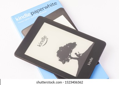 Kuala Lumpur, Malaysia - October 2019. Amazon Kindle Paperwhite 2019 is Amazon e-book reader that is lightweight and waterproof