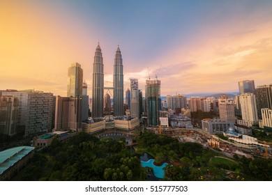 KUALA LUMPUR, MALAYSIA - OCTOBER 23: Petronas Twin Towers at sunset on OCTOBER 23, 2016 in Kuala Lumpur.