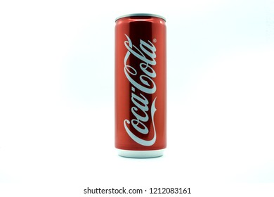 KUALA LUMPUR, MALAYSIA - OCTOBER 25, 2018 Editorial photo of Coca-Cola can on White Background. Coca-Cola Company is the most popular market leader in Malaysia.