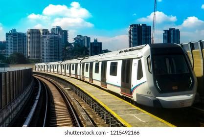 KUALA LUMPUR, MALAYSIA : OCTOBER 25, 2018 : Malaysia Mass Rapid Transit (MRT) train. MRT alleviate the severe traffic congestion in the KL metropolitan area.