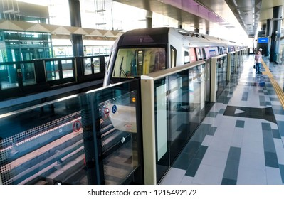 KUALA LUMPUR, MALAYSIA : OCTOBER 25, 2018 : Malaysia Mass Rapid Transit (MRT) train at Bandar Utama Station. MRT alleviate the severe traffic congestion in the KL metropolitan area.