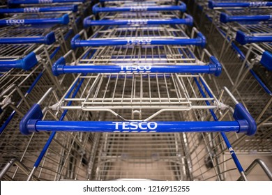 KUALA LUMPUR, MALAYSIA - OCTOBER 25, 2018: Tesco is the third-largest retailer in the world and it has shops in seven countries across Asia and Europe.