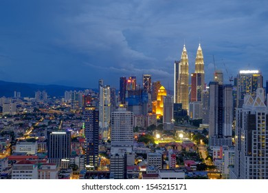 KUALA LUMPUR, MALAYSIA - October 27, 2019; Cityscape of Kuala Lumpur, the capital of Malaysia. Its modern skyline is dominated by the 451m tall Petronas Twin Towers or KLCC by locals