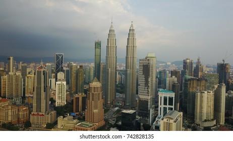 KUALA LUMPUR, MALAYSIA - OCTOBER 27, 2017 : Aerial view of Kuala Lumpur thru drone perspective.