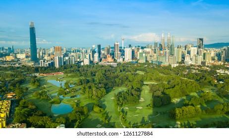 KUALA LUMPUR, MALAYSIA - OCTOBER 28, 2018: Cityscape Of Beautiful Sunrise At Kuala Lumpur, Malaysia