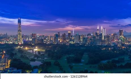 KUALA LUMPUR, MALAYSIA - OCTOBER 28, 2018: Cityscape Of Beautiful sunset At Kuala Lumpur, Malaysia