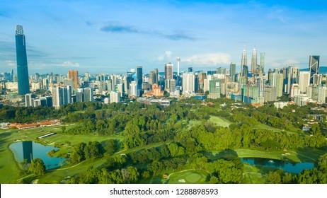 KUALA LUMPUR, MALAYSIA - OCTOBER 28, 2018: Aerial photo of cityscape and Beautiful Sunrise At Kuala Lumpur, Malaysia