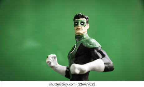 Kuala Lumpur, Malaysia - October 28, 2014: Slightly defocused and closeup hand painted figurine of  Green Lantern, (real name Kyle Rayner) a member of the Justice League super hero team.