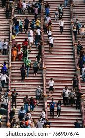 Kuala Lumpur, Malaysia - October 28 2017: Stairs in Batu Caves