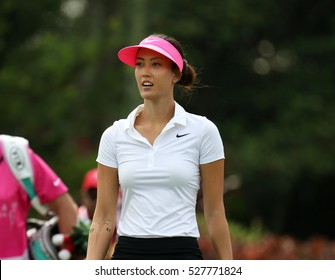 KUALA LUMPUR, MALAYSIA - OCTOBER 29, 2016: Michelle Wie of the USA reacts after her play at the TPC Golf Course at the 2016 Sime Darby LPGA Malaysia golf tournament.