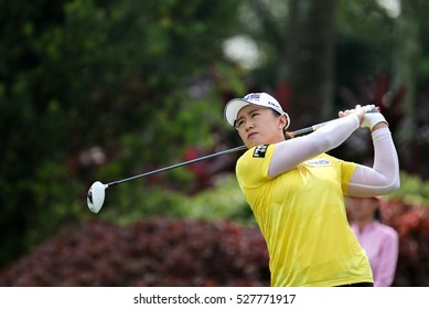 KUALA LUMPUR, MALAYSIA - OCTOBER 29, 2016: Amy Yang of South Korea tees off at the TPC Golf Course at the 2016 Sime Darby LPGA Malaysia golf tournament.