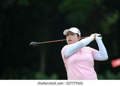KUALA LUMPUR, MALAYSIA - OCTOBER 29, 2016: Shanshan Feng of People's Republic of China tees off at the TPC Golf Course at the 2016 Sime Darby LPGA Malaysia golf tournament.