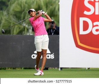 KUALA LUMPUR, MALAYSIA - OCTOBER 29, 2016: Aditi Ashok of India tees off at the TPC Golf Course on Round 3 of the 2016 Sime Darby LPGA Malaysia golf tournament.