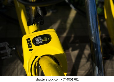 Kuala Lumpur, Malaysia - October 29 2017 : A row of obike are parking at Putrajaya. oBike is first stationless smart bike share system in Malaysia, it providing the freedom of riding anytime anywhere.